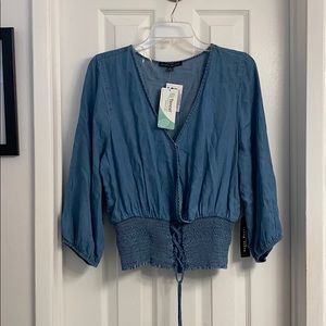 **NWT** Lace-Up Boho Peasant Denim Style Top Sz XL